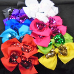 "Big 2 Layer 6"" Gator Clip Bow  w/ Sequin Bow Center Asst Colors  .54 each"