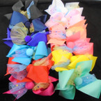"Big 2 Layer 6"" Gator Clip Bow  w/ Heart Lace & Pom Pom Center   .54 each"
