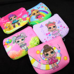 "4.5"" Dbl Side Print Cute Girl Zipper Coin Purses .54 each"