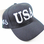 USA 45 Flag Baseball Caps All Black  sold by pc $ 3.00 per hat