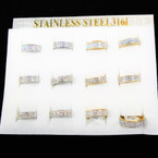 Gold & Silver Stainless Steel Band Ring w/ Cry. Stones  12 per bx .56 each