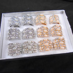 5 Line Gold & Silver Pearl & Crystal Stone Fashion Rings 12 per bx .56 each