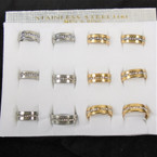 Men's Gold & Silver Stainless Steel Cry. Stone Band Rings 12 per bx .56 each
