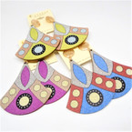 "NEW 2.5"" Multi Color w/ Glitter Finish Wood Fashion Earrings .54 per pair"