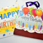 "10"" X  12.5"" Happy Birthday Gift Bags w/ Glitter 4 styles 12 per bag .54 ea"