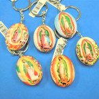 "2"" Glass DBL Sided Keychains Guadalupe Theme 6-Styles  12 pk .56 each"