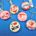 DBL Sided Glass Keychains w/ I Love MOM Theme Mix Styles .56 each