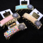 """3.5"""" Pastel Stone Color Jaw Clips w/ Crystal Stone Flower .56 each"""