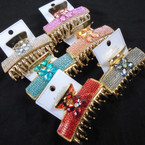 "3"" Crystal Stone Jaw Clips w/ Stone Flower  6 colors  .56 each"