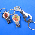 3 Religious Picture Silver Nail Clippers w/ Bottle Opener Keychains  12 per pk .54 ea