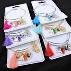 Gold & Silver Wire Bangle Bracelet w/ Unicorn Charms & Tassel  .56 ea