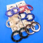 """2.5"""" Acrylic Hoop Earring w/ Gold Circle Top Asst Colors .54 per pair"""