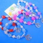 Chunky Sparkle Stone & Fireball Bead Bracelet w/ Silver Tree of Life  .54 each