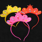 "6"" Flashing Crown Theme Headbands w/ Star  12 per pk .60 each"