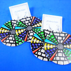 """2.75"""" Round Multi Color Pattern Wood Earring   .54 per pair"""