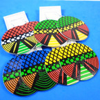 """2.75"""" Round Multi Color Patterns  Wood Earring  .54 per pair"""