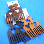 "3"" Wood Earring Hair Comb Style w/ Open Heart 3 colors  .54 per pair"