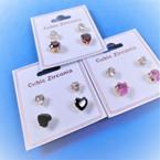 2 Pair Gold  Prong Set Cubic Stud Earrings Clear & Colored Heart  12 sets per pk .54 ea set