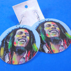 "2.75"" Round Reggae/Rasta Guy Photo  Wood Earring   .54 per pair"
