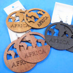 "2.75"" Round Engraved Wood Earring w/ Mini Africa Map 3 colors  .54 per pair"