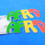 "3"" Rasta Color Wood Earrings w/ AFRO (Africa Map)  .54 per pair"