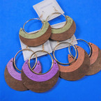 "2.5"" Oval 2 Color Wood Earrings w/ Gold Hoop Top   .54 per pair"