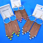 "3.5"" Long 2 Color Wood Earrings w/ Gold Hoop Top   .54 per pair"
