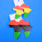 "3""  2 Color Group Africa Map Wood Earrings   .54 per pair"