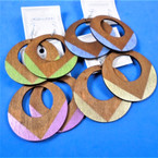 """2.5"""" Round 2 Color Wood  Earrings Pastels   .54 per pair"""