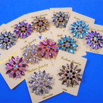 "2"" Gold & Silver Acrylic & Crystal Stone Fashion Broaches 12 per pk .65 each"