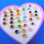 Kid's Crystal Stone Gold & Silver Adjustable Rings 36 pc display bx .25 each