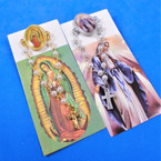"3"" Divine Mercy & Guadalupe Tac Pin w/ Chain & Dangle Cross 12 per pk .54 ea"