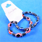 2 Pack Hematite & Eye Bead Stretch Bracelets .54 per set