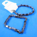 2 Pack Sq. & Round Hematite Stretch Bracelet   12 sets per pk .65 each set