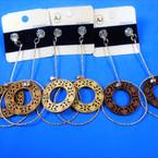 "3.5"" Dangle Wood & Gold Earrings w/ Crystal Stones  (20) .54 per pair"