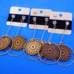 "3"" Dangle Wood & Gold Earrings w/ Crystal Stones  (17) .54 per pair"