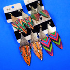 """2.75"""" Wood Print Fashion Earring w/ Frosted Gold Top .54 per pair"""