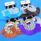 "3.5"" Wood Leopard Print Earring w/  Fringes .56 per pair"