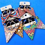 "3"" Wood Print Fashion Earring w/  Gold Hoop Style .54 per pair"