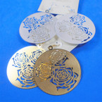 "2"" Gold  & Silver Laser Cut Rose Fashion Earrings Lightweight  .54 per pair"