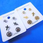 3 Pair Gold/Silver Stainless Steel Earrings Cross & Tree of Life .58 per set