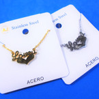 Gold & Silver Stainless Steel LOVE U  Pend. Necklace   12 per pk  .58 each