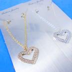 Silver Chain Neck Set w/ Crystal Stone Open Heart Pendant .56 ea set