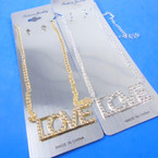 Silver Chain Neck Set w/ Crystal Stone LOVE Pendant .56 ea set