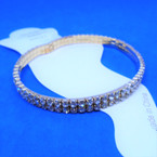 2 Line Gold Rhinestone Stretch Anklets 12 per pk .55 each