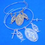 Gold & Silver Wire Bangle Bracelet w/ Faith Charms San Benito   .54 ea