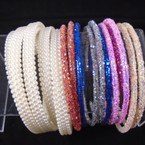 SPECIAL 24 Pack Headbands Pearl & Crystal Flake Styles .32 each