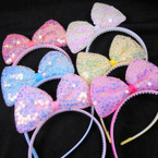 """5"""" Pastel Color Sequin Bow Style  Fashion Headbands  .56 each"""