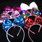 """6"""" Mixed Color Sequin Bow Style  Fashion Headbands  .56 each"""