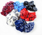 2 Pack Lg. Size Mixed Color Bandana Print Scrunchies  .55 per pk